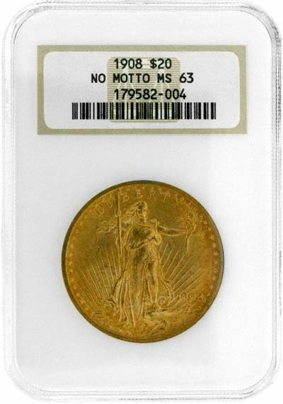 St. Gaudens Standing Liberty Obverse Design on 1908 American Gold Double Eagle