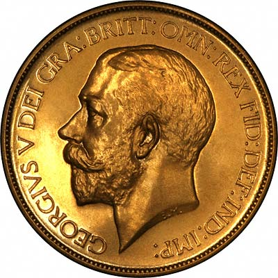 Obverse of 1911 Proof Gold Five Pounds