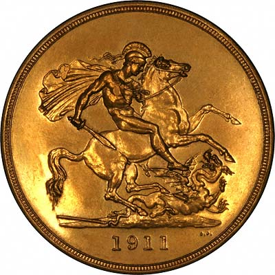 St. George & Dragon on Reverse of 1911 Proof Gold Five Pounds