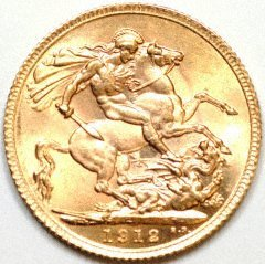 Our 1912 London Mint George V Gold Sovereign Reverse Photograph