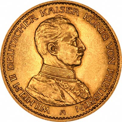 Bust of Wilhelm II on Obverse of 1913 German 20 Marks