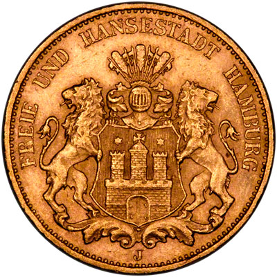 Obverse of Hamburg 20 Marks of 1913