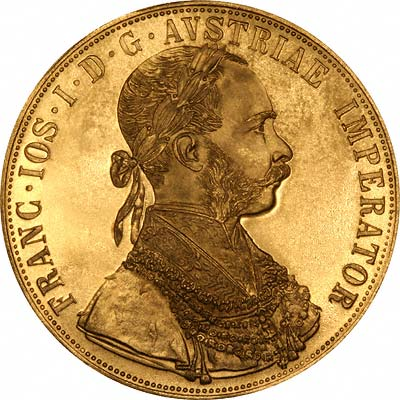 Our 1915 Austrian Restrike Gold 4 Ducat Obverse Photograph
