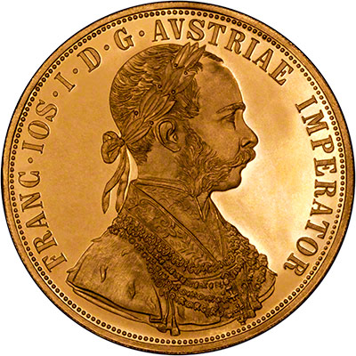 Obverse of 1915 Austrian Four Ducats