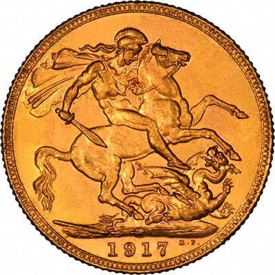 Reverse of 1917 Gold Sovereign