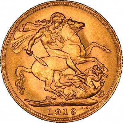 Reverse of 1919 Gold Sovereign