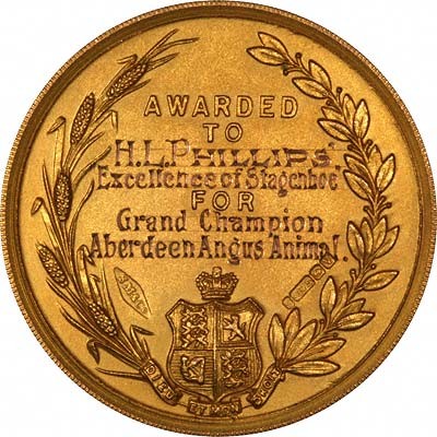 Reverse of 1921 Water and Agircultural Society Medallion