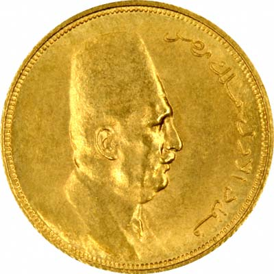 King Fuad on Obverse of 1923 Egyptian 20 Piastres