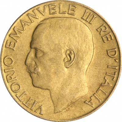 Obverse of 1923 Italian Gold 20 Lire
