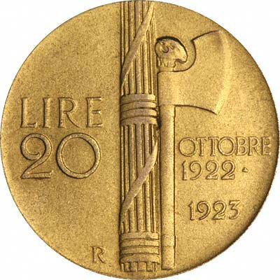 Reverse of 1923 Italian Gold 20 Lire