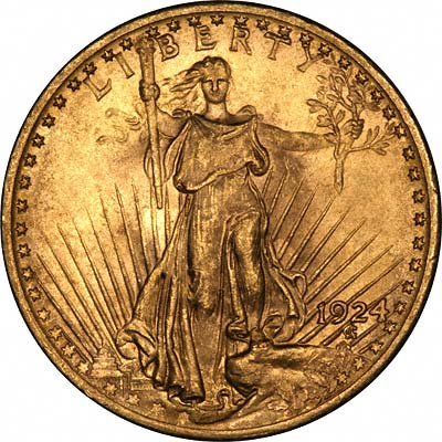 Obverse of 1924 St. Gaudens Gold Double Eagle - $20