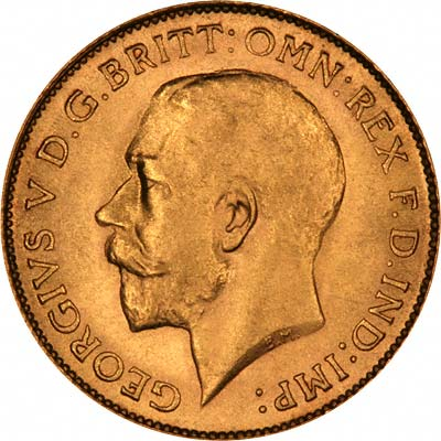 Obverse of 1925 George V Half Sovereign