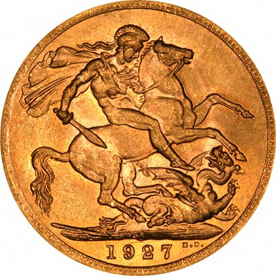 Reverse of 1927 Gold Sovereign