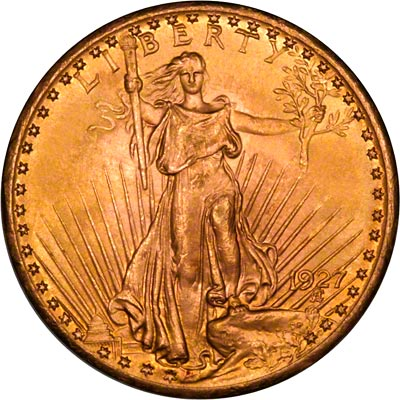 Obverse of 1927 American Gold Double Eagle