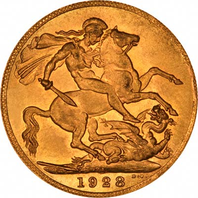 Reverse of 1928 Gold Sovereign