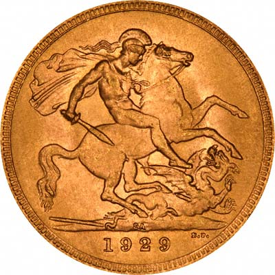 Reverse of 1929 Gold Sovereign