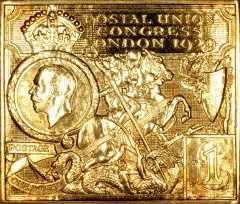 1929 £1 PUC Postal Union Congress Gold Stamp Replica
