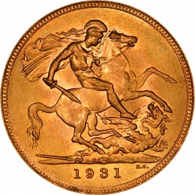 Reverse of 1931 Gold Sovereign