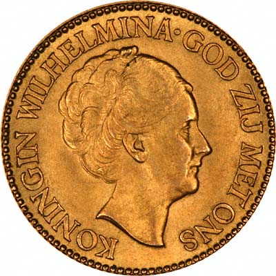 Queen Wilhelmina on Obverse of 1933 Netherlands 10 Guilder