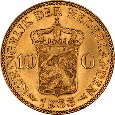 Reverse of 1933 Netherlands 10 Guilder
