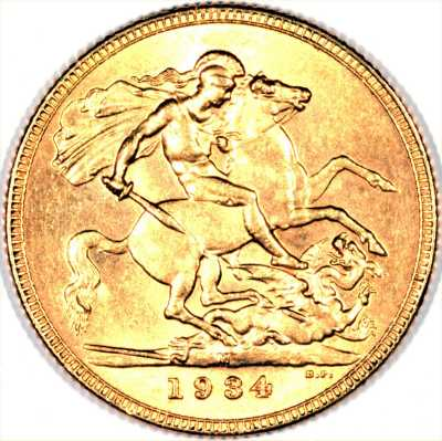 Reverse of 1934 Gold Sovereign