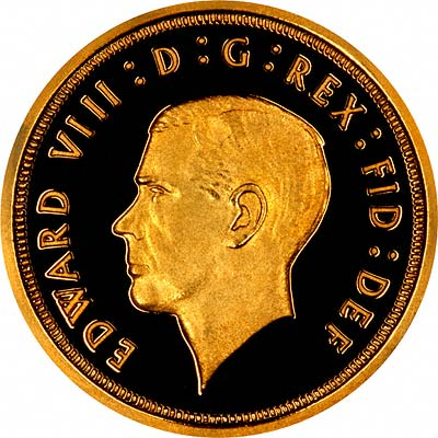 Obverse of 1936 Unofficial Fantasy Pattern Gold Sovereign