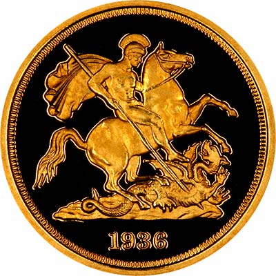 Reverse of 1936 Unofficial Fantasy Pattern Gold Sovereign