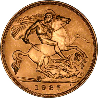 George VI on Obverse of 1937 Gold Proof Coronation Five Pounds