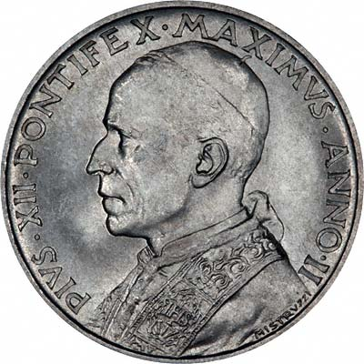 Obverse of 1940 Vatican City 5 Lire