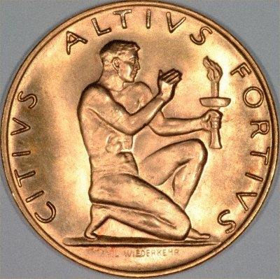 Obverse of 1948 St. Moritz Winter Olympics Gold Medal
