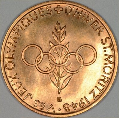 Reverse of 1948 St. Moritz Winter Olympics Gold Medal