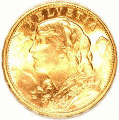 Our 1949 Swiss 20 Gold Franc Vreneli Obverse Photo