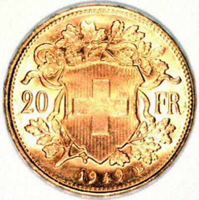 Our 1949 Swiss 20 Gold Franc Vreneli Reverse Photo