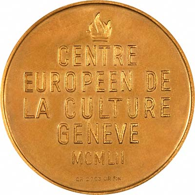 Reverse of 1952 Geneva European Cultural Centre Gold Medal