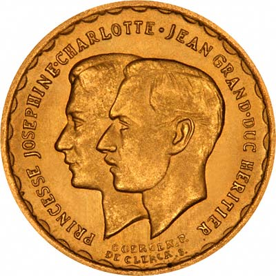 Obverse of 1953 Luxembourg Gold 20 Francs