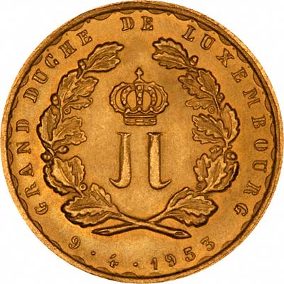 Reverse of 1953 Luxembourg Gold 20 Francs
