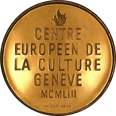 Reverse of 1953 Geneva European Cultural Centre Gold Medal