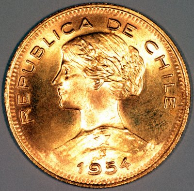 Obverse of 1954 Chile 100 Pesos