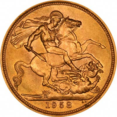 Reverse of 1958 Gold Sovereign