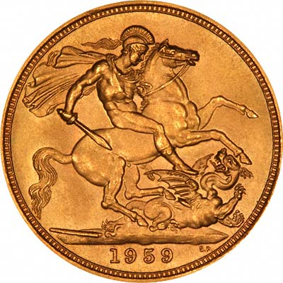 Reverse of 1959 Gold Sovereign