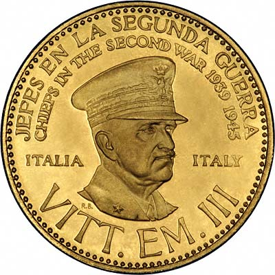 Vittorio Emanuele III on Venezuelan Chiefs of WWII Gold Medal