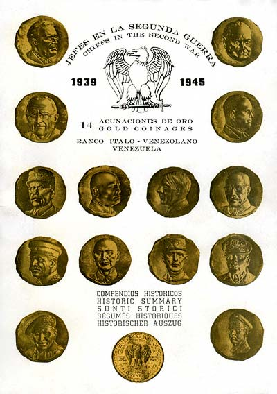 Front Cover of Historic Summary Booklet for Venezuelan Chiefs of WWII Gold Medals