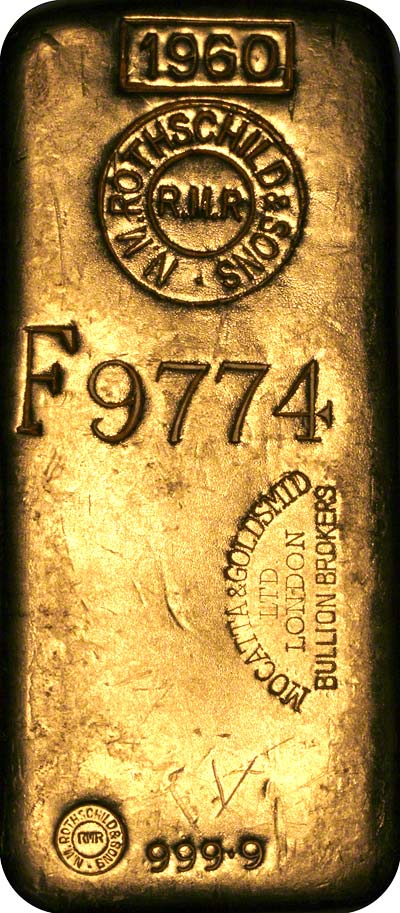 One Kilo Rothschild Mocatta Goldsmid Rmr Gold Bar 9999 Au