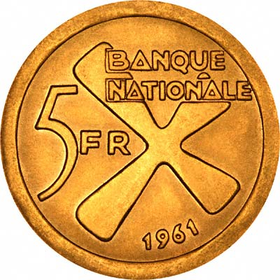 Reverse of 1961 Katanga Gold 5 Francs