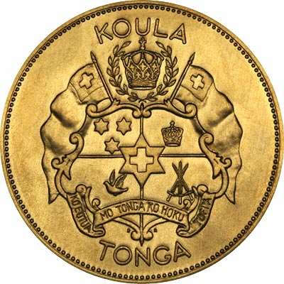 Coat of Arms on Obverse of 1962 Tonga Gold 100 Pa'Anga
