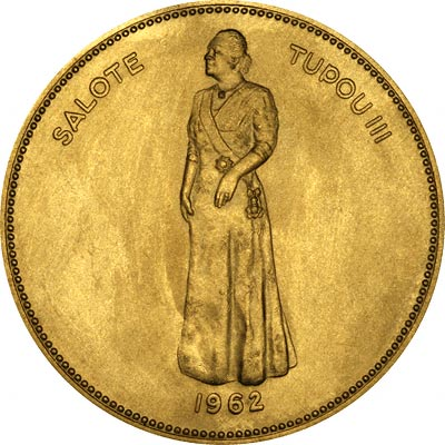 Queen Salote on Obverse of 1962 Tonga Gold 100 Pa'Anga