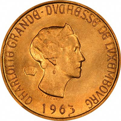 Obverse of 1963 Luxembourg Gold 20 Francs