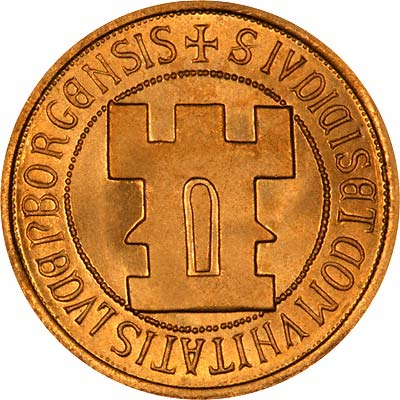 Reverse of 1963 Luxembourg Gold 20 Francs