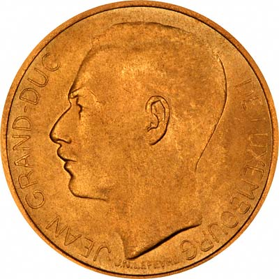 Obverse of 1964 Luxembourg Gold 20 Francs
