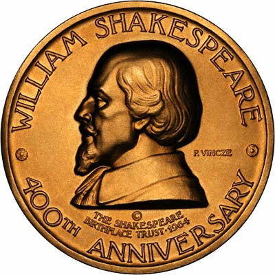 Obverse of 1964 William Shakespeare 400th Anniversary Gold Medallion